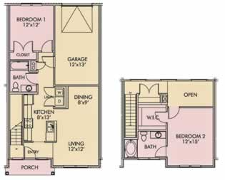 Cedarcrest - Two Bedroom / Two Bath - 1,244 Sq. Ft.*