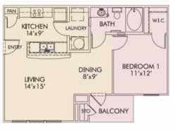 One Bedroom / One Bath - 712 Sq. Ft.*