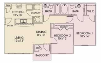 Two Bedroom / Two Bath - 950 Sq. Ft.*