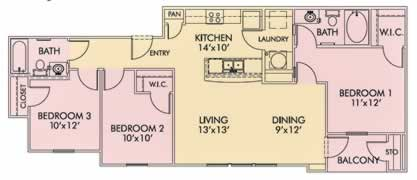 Woodcrest - Three Bedroom / Two Bath - 1,142 Sq. Ft.*